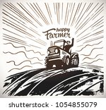 farmer on the tractor  waving... | Shutterstock .eps vector #1054855079
