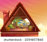 vector cartoon illustration of... | Shutterstock .eps vector #1054857860