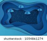 night sky with shining stars... | Shutterstock .eps vector #1054861274