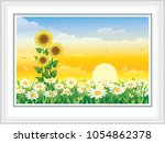 summer meadow with daisies and ... | Shutterstock .eps vector #1054862378