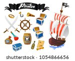 pirate accessories flat icons... | Shutterstock .eps vector #1054866656