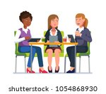 three business woman sitting at ... | Shutterstock .eps vector #1054868930