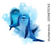 Two Blue Dolphins Watercolor...