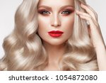beautiful blonde in a hollywood ... | Shutterstock . vector #1054872080