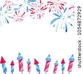 fireworks festival. watercolor... | Shutterstock . vector #1054872929