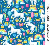 seamless pattern with unicorns... | Shutterstock .eps vector #1054877513
