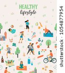 healthy lifestyle. roller... | Shutterstock .eps vector #1054877954