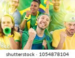 group of brazilian supporters... | Shutterstock . vector #1054878104