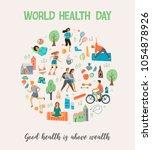 world health day. healthy... | Shutterstock .eps vector #1054878926