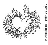 heart pierced by arrow. heart... | Shutterstock .eps vector #1054886360