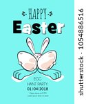 happy easter poster. cute... | Shutterstock .eps vector #1054886516