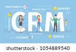 crm concept illustration. idea... | Shutterstock .eps vector #1054889540