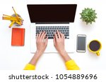 working on laptop. woman... | Shutterstock . vector #1054889696