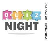 quiz night thin line concept.... | Shutterstock .eps vector #1054902140