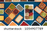 top view different dry legumes...   Shutterstock . vector #1054907789