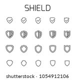 shield related vector icon set. ... | Shutterstock .eps vector #1054912106