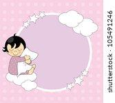 frame baby girl. sleeping child ... | Shutterstock .eps vector #105491246
