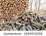 firewood for the winter  stacks ... | Shutterstock . vector #1054913258