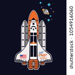 rocket and space vector... | Shutterstock .eps vector #1054916060
