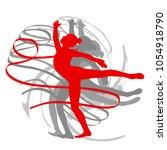art gymnastics with ribbon... | Shutterstock .eps vector #1054918790