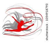 art gymnastics with ribbon... | Shutterstock .eps vector #1054918793