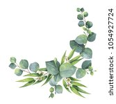 watercolor hand painted wreath... | Shutterstock . vector #1054927724