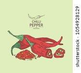 chilli pepper  a piece of hot... | Shutterstock .eps vector #1054928129