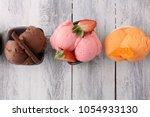 set of ice cream scoops of... | Shutterstock . vector #1054933130