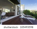 wooden outdoor deck in modern... | Shutterstock . vector #105493598