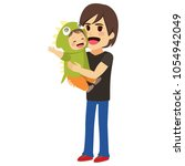 father holding cute little son... | Shutterstock .eps vector #1054942049