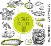 sketch object marinade pickles... | Shutterstock .eps vector #1054943330