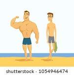 strong and weak men   cartoon...   Shutterstock .eps vector #1054946474