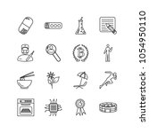 universal icons set with chip ...