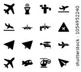 solid vector icon set   plane... | Shutterstock .eps vector #1054952240