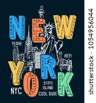 new york theme vectors for t... | Shutterstock .eps vector #1054956044