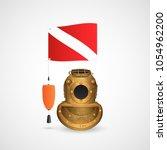 illustration of a vintage scuba ... | Shutterstock .eps vector #1054962200