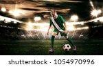 kid   soccer player. boy... | Shutterstock . vector #1054970996