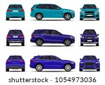 realistic suv cars set. front... | Shutterstock .eps vector #1054973036