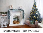christmas room with tree and... | Shutterstock . vector #1054973369
