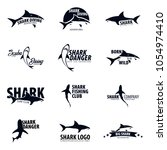 set emblems or logos with shark.... | Shutterstock .eps vector #1054974410