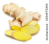 ginger isolated on a white... | Shutterstock . vector #1054975394