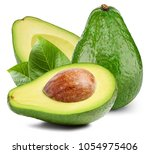 avocado with leafs isolated on... | Shutterstock . vector #1054975406