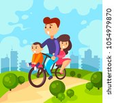 family rides a bicycle. family... | Shutterstock .eps vector #1054979870