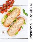 sub sandwich whole grain grains ... | Shutterstock . vector #1054981943