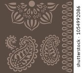 indian ornament stencils | Shutterstock .eps vector #1054992086