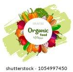vegetables around circle frame...   Shutterstock .eps vector #1054997450