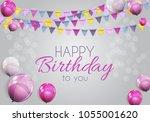 color glossy happy birthday...   Shutterstock .eps vector #1055001620