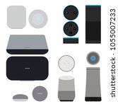 set of smart speakers with... | Shutterstock .eps vector #1055007233