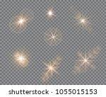 vector set of glare lighting ... | Shutterstock .eps vector #1055015153