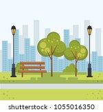 beautiful park landscape scene | Shutterstock .eps vector #1055016350